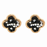 Black & Grey Crystal Quatrefoil Studs