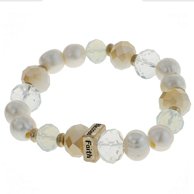 Pearl Hope Faith Love Bracelet