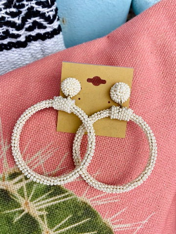 Cream Seed Bead Hoop Earrings