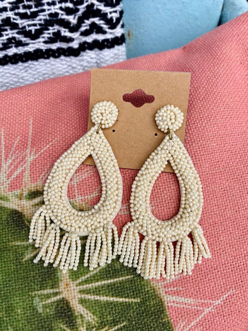 Cream Seed Bead Tassel Earrings