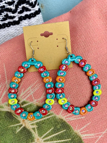 Multi Color Wood Earrings