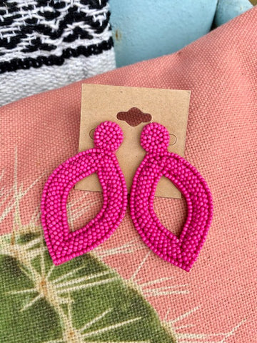 Hot Pink Bead Earrings
