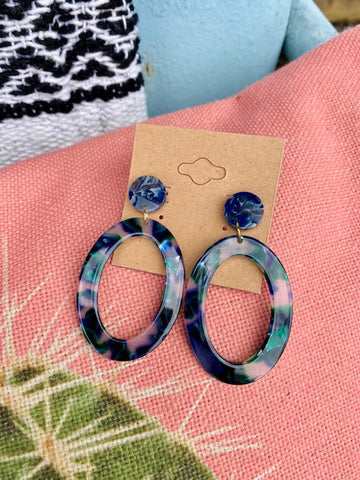 Blue Acrylic Earrings