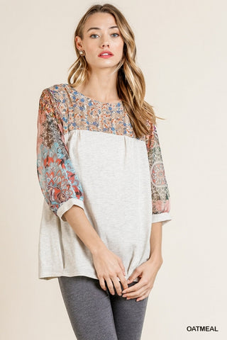 Only Oatmeal Floral Top