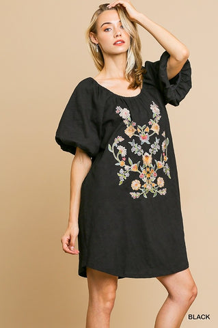 Black Floral Embroidered Short Puff Sleeve Scoop Neck Dress