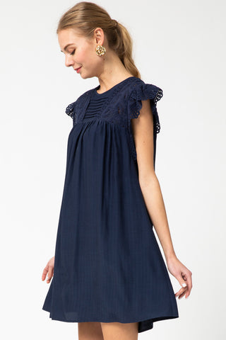 Navy Eyelet Lace Babydoll Dress