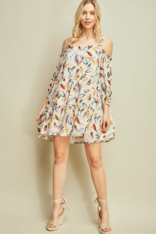 Feather Open Shoulder Dress