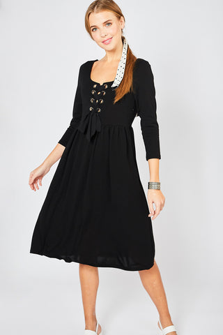 Basic Black Lace Up Dress