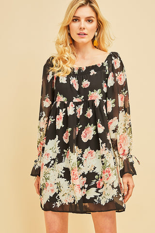 Bella Black Floral Babydoll Dress