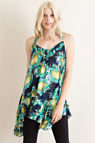 Sunflower Floral A-Line Top