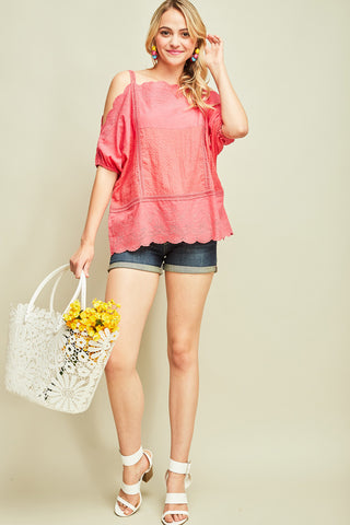 Tomato Eyelet Cold-Shoulder Top