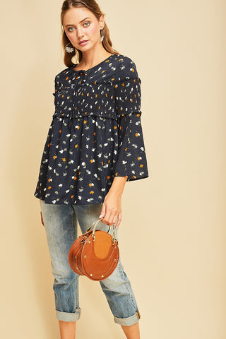 Naturally Navy Smocked Top
