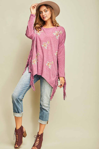 Plumb Floral Embroidery Knit Top