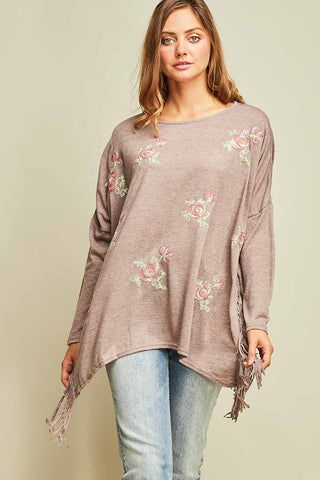 Mandy Mocha Floral Embroidery Knit Top
