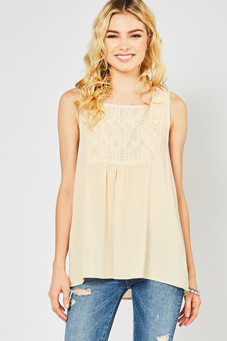 Cream Square-neck Top