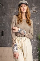 Camo Leopard Sleeve Top