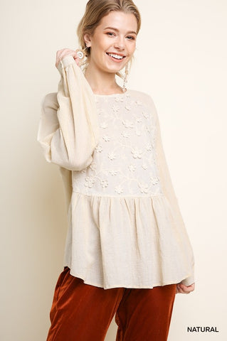 Cream Embroidered Babydoll Top
