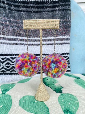 Multicolor Pom Pom Earrings