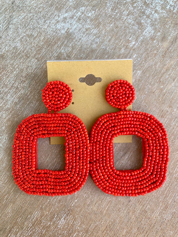 Red Beaded Open Square Earrings
