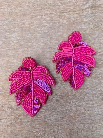 Pink Beaded Palm Leaf Earrings