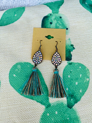 Turquoise & Brown Teardrop Fringe Earrings