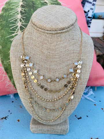 Multi layer gold necklace