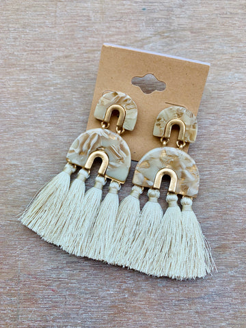 Marbled Geometric Earrings with Cream Fringe