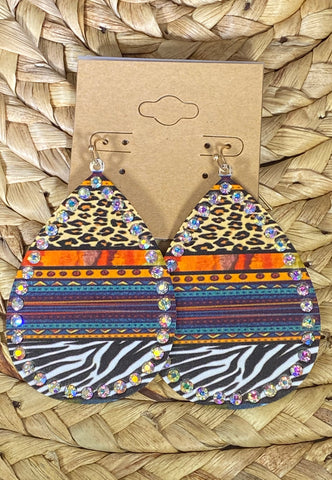 Serape Animal Print Dangle Earrings