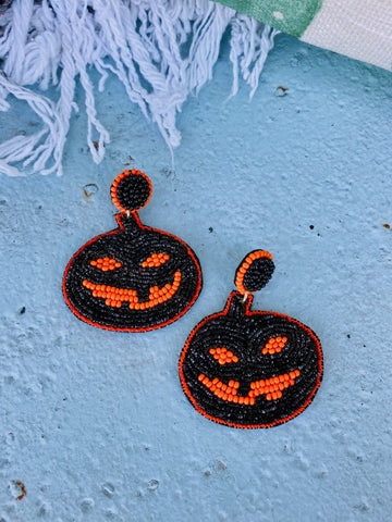 Beaded Jack-O-Lantern Earrings