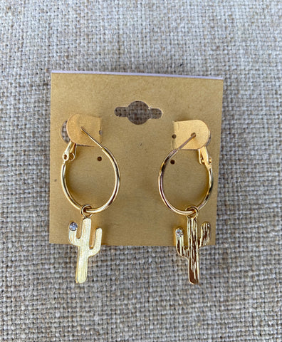 Gold Cactus Hoop Earrings