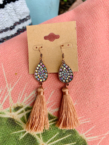 Crystal Teardrop & Blush Tassel Earrings