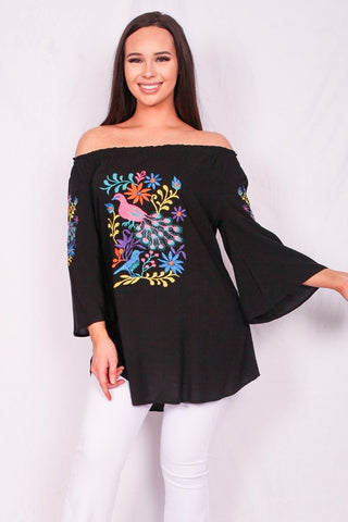 Pretty Peacock Multicolor Embroidered Off Shoulder Top