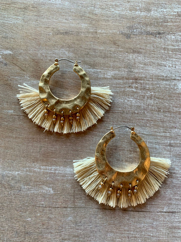 Cream Fringe & Bead Hoop Earrings