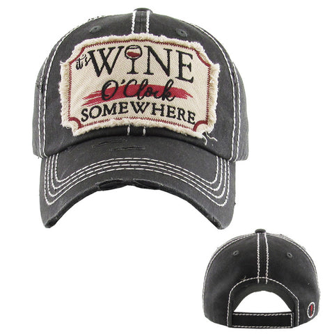 Wine O'clock Somewhere Baseball Cap