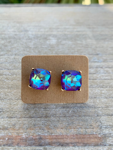 Purple & Blue Gemstone Studs