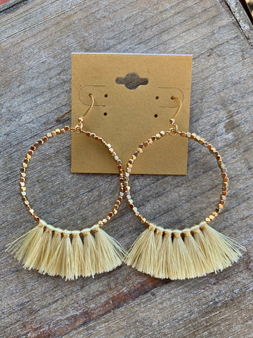Gold Beaded Hoops with Cream Tassels