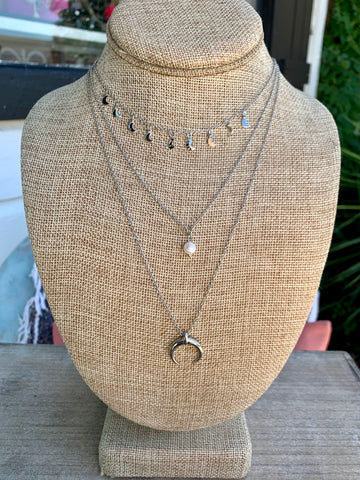 Silver Layered Crescent Horn & Pearl Pendant Necklace