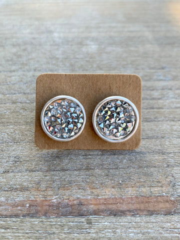 Silver Crystal Circle Stud Earrings