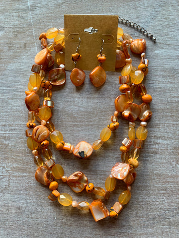 Orange Mother of Pearl Necklace and Earrings