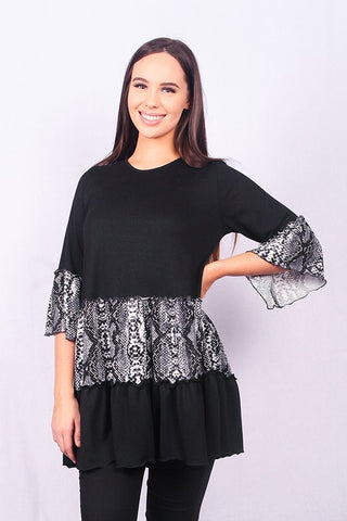 Black & Snakeskin Ruffled Top