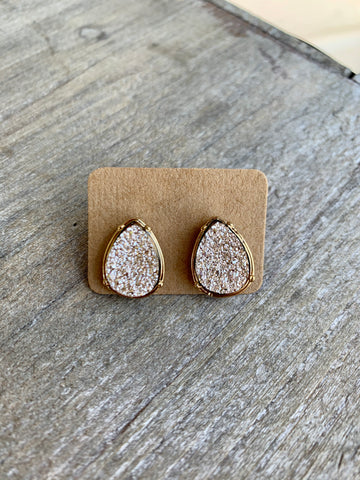 Rose Gold Teardrop Druzy Studs