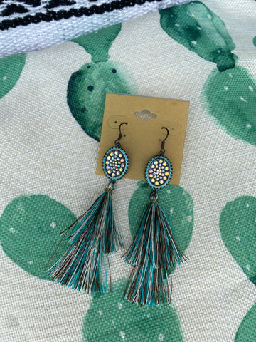 Turquoise & Brown Fringe Earrings