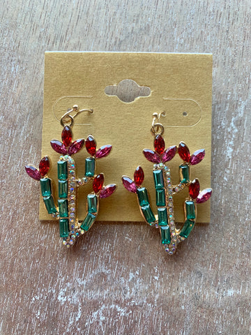 Rhinestone Cactus Earrings