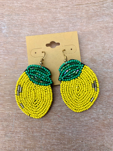 Beaded Lemon Earrings