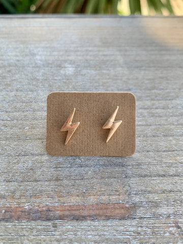 Gold Lightening Bolt Studs