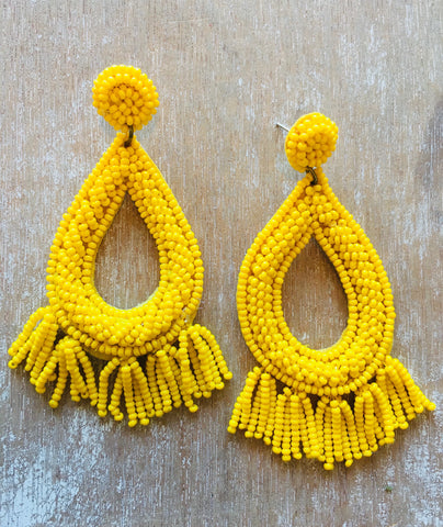 Yellow Seed Bead & Tassel Earrings