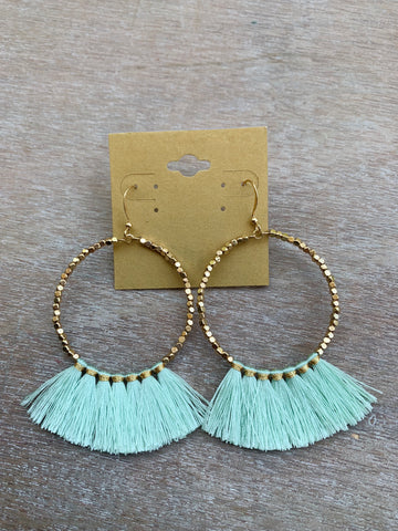 Gold Beaded Hoops with Blue Fringe