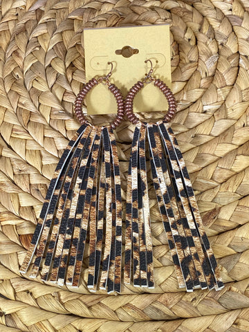 Leopard Fringe Dangle Earrings