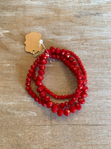 Red Stretchy Bracelet Set