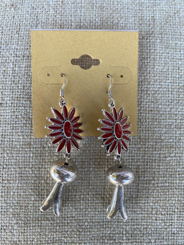 Red Squash Blossom Earrings